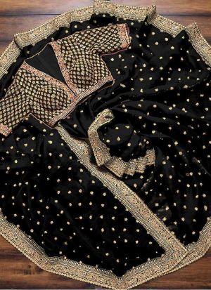 Black Silk Saree With Sequence Work