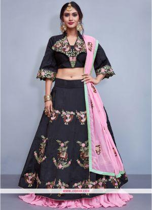 Black Taffeta Silk Designer Lehenga Choli With Embroidered
