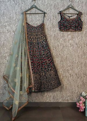 Black Taffeta Silk Fancy Thread Work Lehenga Choli With Mono Net Dupatta