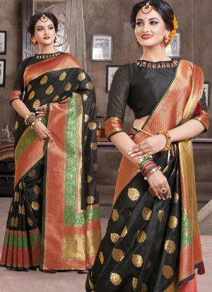 Black Traditional South Indian Wedding Crystal Silk Saree
