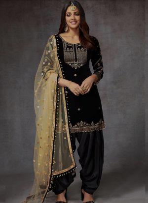 Black Velvet Embroidered Wedding Patiala Suit