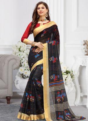 Black Women Wedding And Partywear Cotton Saree