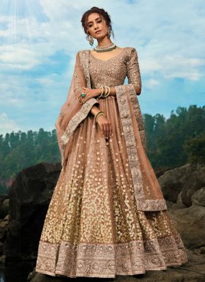 Blissful Brown Soft Net Lehenga Choli For Engagement