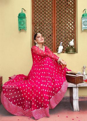 Blooming Hot Pink Anarkali Gown