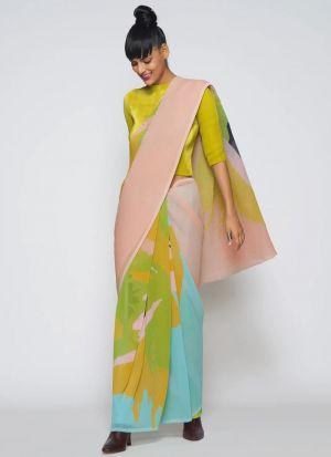 Blooming Multi Color Printed Saree