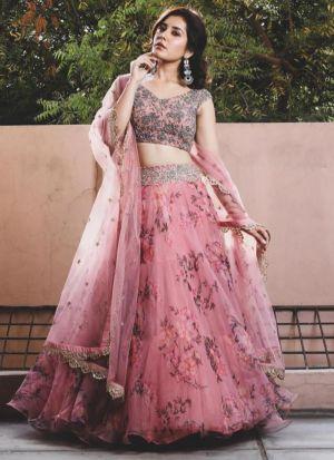 Blooming Pink Digital Printed Lehenga