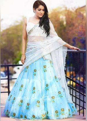 Blooming Sky Blue Net Zari Embroidered Lehenga Choli