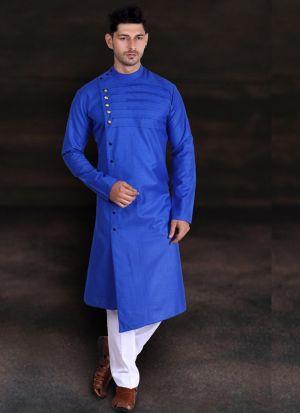 Blue Cotton Long Kurta With Pant