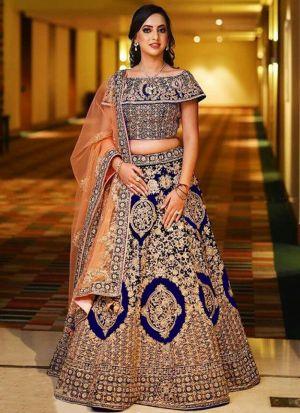 Blue Designer Wedding Wear Banglori Satin Silk Lehenga Collection