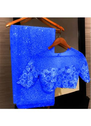 Blue Georgette Bamberg Designer Saree