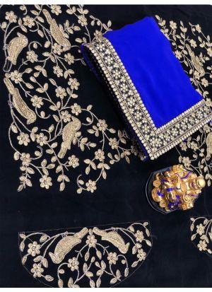 Blue Georgette Designer Traditional Saree