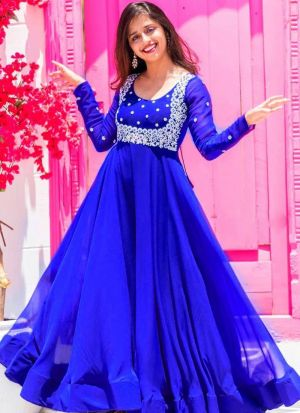 Blue Georgette Festive Wear Gown