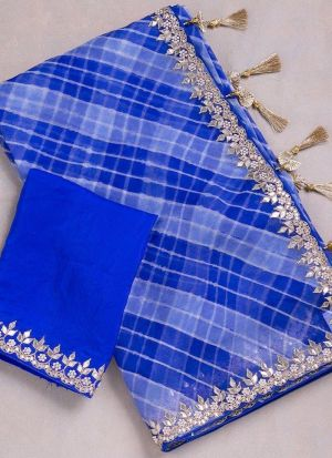 Blue Georgette Printed Traditional Saree