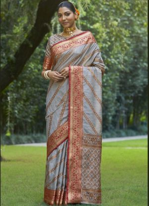 Blue Grey Weaving Silk Saree