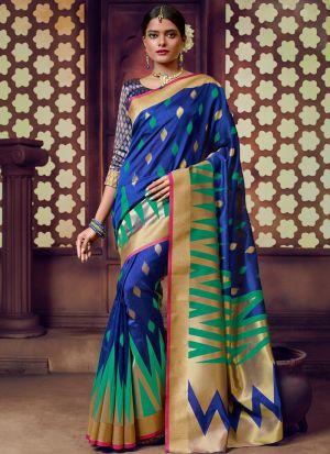 Blue Handloom Cotton Wedding Saree Collection