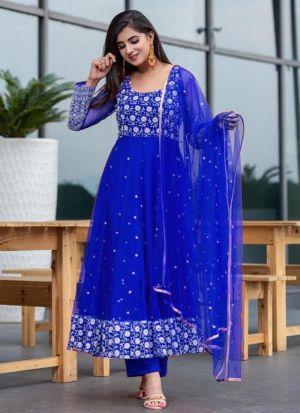 Blue Heavy Georgette Anarkali Suit