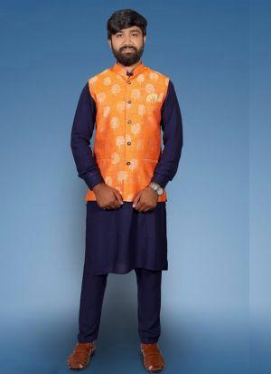 Blue Kurta Pajama With Jacquard Print Koti