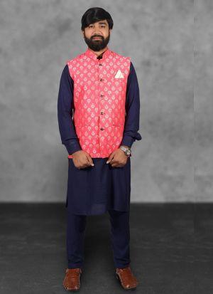 Blue Kurta Pajama With Pink Koti For Men