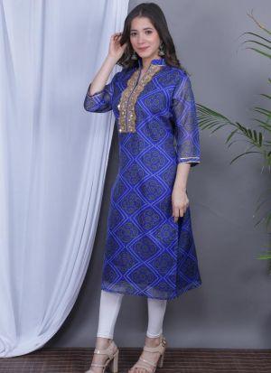 Blue Kurti In Kota Doriya Fabric