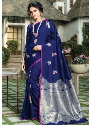 Blue Paper Silk Designer Traditional Saree For Wedding
