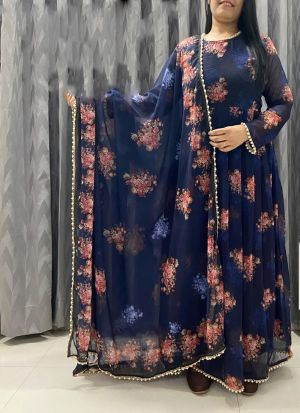 Blue Printed Suit With Dupatta