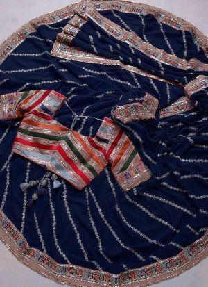 Blue Rajwadi Silk Thread Work saree