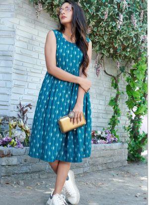 Blue Rayon Printed Kurti Women