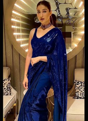 Blue Sequence Embroidery Work Saree