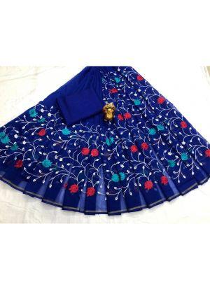 Blue South Cotton Designer Traditional Saree