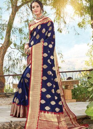 Blue Traditional South Indian Wedding Dola Silk Saree