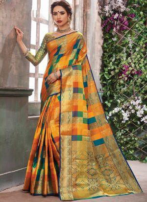 Bold And Gorgeous Multi Color Banarasi Pure Silk Saree