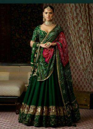 Bollywood Designer Green Banglori Silk Digital Printed Lehenga Choli