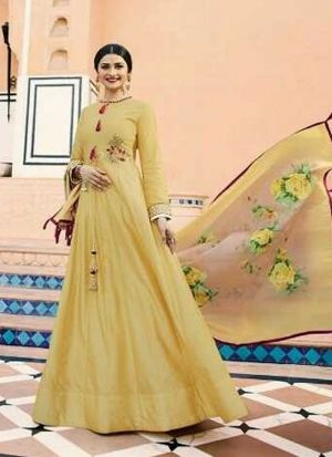 Bollywood Designer Yellow Jenny Silk Sequence Work Gown