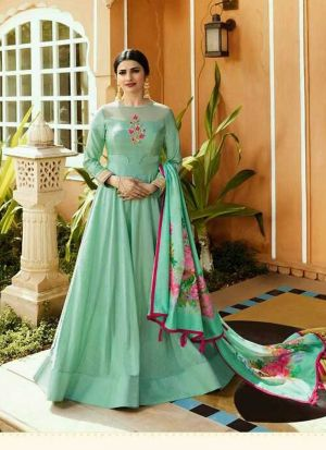 Bollywood Fashion Light Cyan Jenny Silk Embroidered Gown