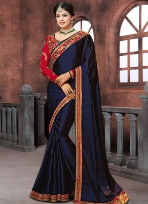 Bollywood Prachi Desai Blooming Georgette Classic Designer Saree In Navy Color