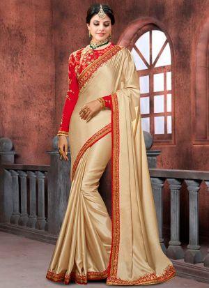 Bollywood Prachi Desai Chinon Silk Classic Designer Saree In Cream Color