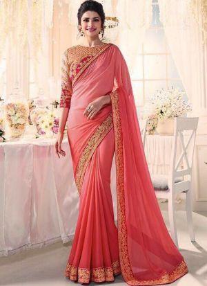 Bollywood Prachi Desai Chinon Silk Classic Designer Saree In Peach Color
