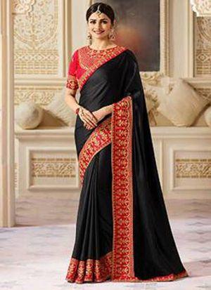 Bollywood Prachi Desai Joya Silk Classic Designer Saree In Black Color