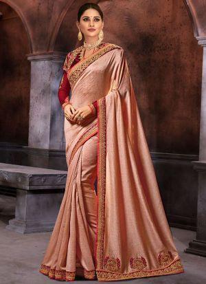 Bollywood Prachi Desai Santoon Silk Classic Designer Saree In Peach Color