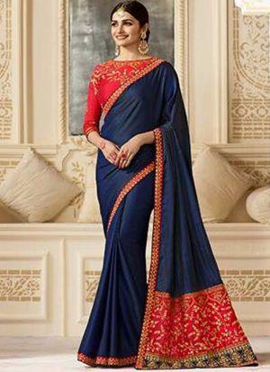 Bollywood Prachi Desai Sparkle Silk Classic Designer Saree In Navy Color