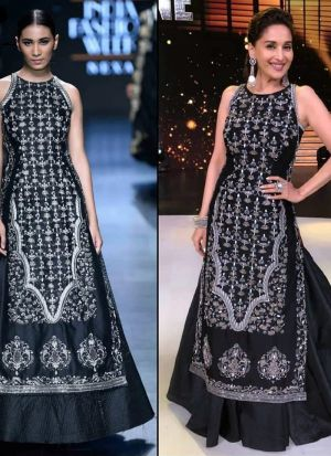 Bollywood Style Black Digital Print Lehenga With Long Tunic Top