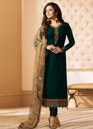 Bollywood Style Bottle Green Georgette Embroidered Salwar Suit