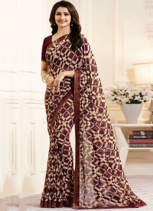 Bollywood Style Brown Printed Georgette Saree