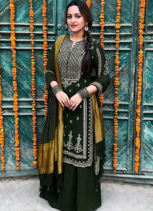 Bollywood Style Dark Green Traditional Palazzo Suit