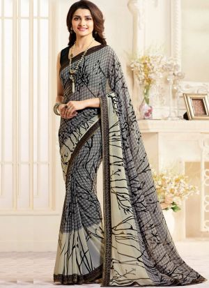 Bollywood Style Grey Printed Georgette Saree