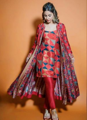 Bollywood Style Maroon Suit With Beautiful Digital Printed Koti