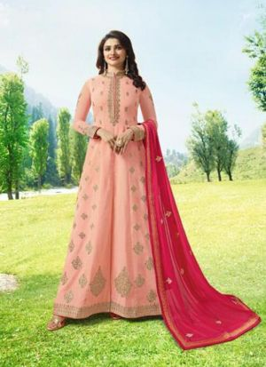 Bollywood Style Peach Embroidered Anarakali Suit