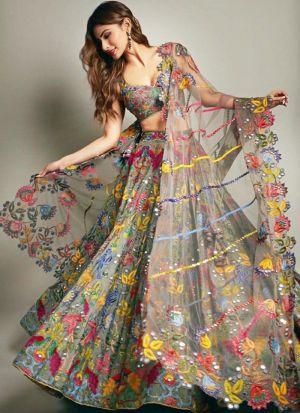 Bollywood Style Sage Color Net Lehenga Choli