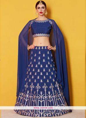Bridal Blue Embroidered Art Silk Wedding Anarkali Lehenga