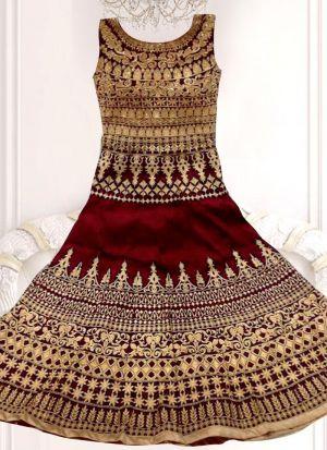 Bridal Maroon Banglori Silk Embroidered Lehenga Choli With Mono Net Dupatta